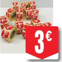 """Rouleau de 500 étiquettes adhésives """"3€"""" 35mm"""