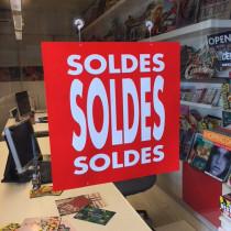 """Carton """"SOLDES"""" L34 H34 cm et 4 ventouses recto verso identiques"""