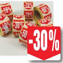 """Rouleau de 500 étiquettes adhésives """"30%"""" 35mm"""