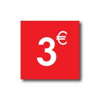 "Sticker adhésif "" 3€ ""  L40 H40 cm"