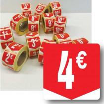 """Rouleau de 500 étiquettes adhésives """"4€"""" 35mm"""