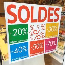 Poster SOLDES 20,30,40,50,70%, L80 H70 cm
