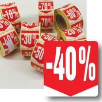 """Rouleau de 500 étiquettes adhésives """"40%"""" 35mm"""