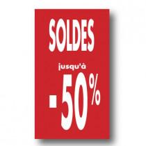 """Affiche """"SOLDES -50%"""" L40 H72 cm"""
