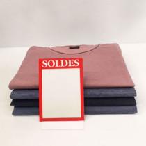 """Paquet de 50 étiquettes carton """"SOLDES"""" L105 H145 mm"""