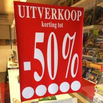 """Poster  """"UITVERKOOP TOT -50%"""" L60  H80cm"""