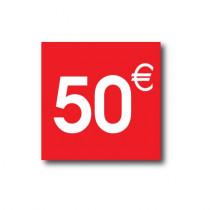 "Sticker adhésif ""50€ ""  L40 H40 cm"