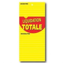 """100 étiquettes papier """"LIQUIDATION TOTALE"""" L60 H138 mm"""