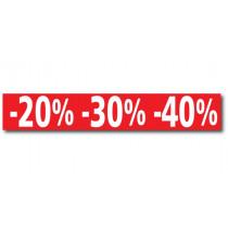 """Affiche """"-20% -30% -40%"""" L120 H20 cm"""