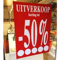 """Poster  """"UITVERKOOP TOT -50%"""" L70  H100cm"""