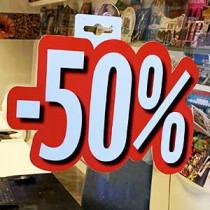 """Carton """"-50%"""" L24 H28 cm"""