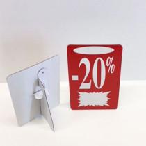 """Carton """"-20%"""" avec chevalet arrière L13 H22 cm"""