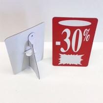 """Carton """"-30%"""" avec chevalet arrière L13 H22 cm"""