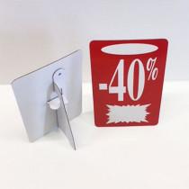 """Carton """"-40%"""" avec chevalet arrière L13 H22 cm"""