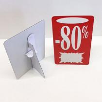 """Carton """"-80%"""" avec chevalet arrière L13 H22 cm"""