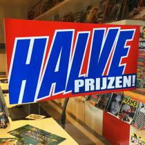 """Poster  """"HALVE PRIJZEN"""" L58 H29cm"""