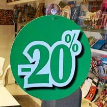 """Carton """"-20 %"""" recto verso identiques L22 H22 cm"""