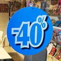"""Carton """"-40 %"""" recto verso identiques L22 H22 cm"""