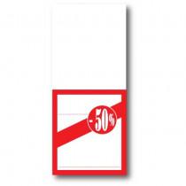 """Paquet de 250 étiquettes papier """"-50%"""" L52 H120 mm"""