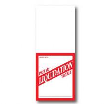 """Paquet de 250 étiquettes papier """"Prix de LIQUIDATION TOTALE"""" L5,2 H12 cm"""