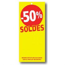 """Paquet de 100 étiquettes papier  """"-50% SOLDES"""" L60 H140 mm"""