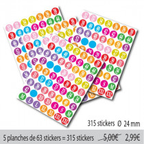 "5 Planches stickers ronds ""TAILLES FEMME"""