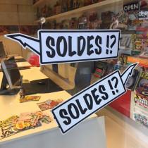 """Carton """"soldes"""" L40 H14 cm et 4 ventouses"""