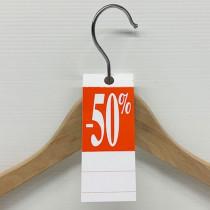 """50 étiquettes cintre """"-50%"""" L50 H140 mm"""