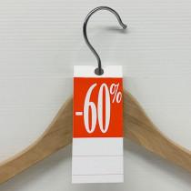 """50 étiquettes cintre """"-60%"""" L50 H140 mm"""