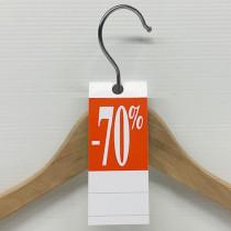 """50 étiquettes cintre """"-70%"""" L50 H140 mm"""