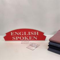 """Carton """"ENGLISH SPOKEN"""" L36 H11 cm"""