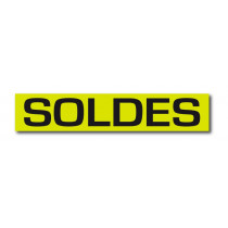 "Affiche ""SOLDES"" anis fluo L80 H13 cm"