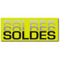 "Affiche ""SOLDES..."" anis fluo L80 H32 cm"
