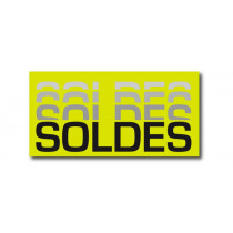 "Affiche ""SOLDES..."" anis fluo L60 H30 cm"