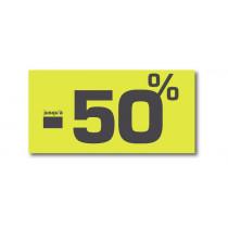 """Affiche """"SOLDES jusqu'à -50%"""" anis fluo L60 H30 cm"""