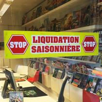 """Affiche """"STOP - LIQUIDATION SAISONNIERE"""" L86 H20 cm"""