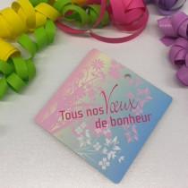 """Paquet de 50 étiquettes carton """"Tous nos voeux de bonheur"""" L84 H84 mm"""