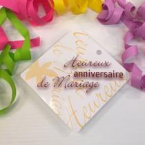 """Paquet de 50 étiquettes carton """"Heurex anniversaire de Mariage"""" L84 H84 mm"""