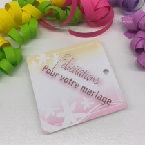 """Paquet de 50 étiquettes carton """"Félicitations pour votre mariage"""" L84 H84 mm"""