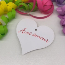 """Paquet de 50 étiquettes carton """"Avec amour"""" L86 H80 mm"""