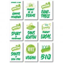 "Paquet de18 étiquettes carton""BIO- LOCAL FERME"" assorties  L70 H100 mm"