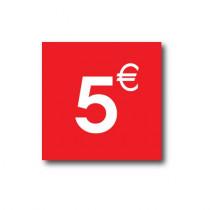 "Sticker adhésif ""5€""  L40 H40 cm"