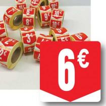 """Rouleau de 500 étiquettes adhésives """"6€"""" 35mm"""