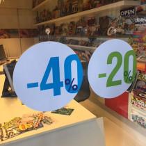 """Carton rond recto """"40%"""" verso """"20%"""" 32 cm et 2 ventouses"""