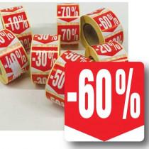 """Rouleau de 500 étiquettes adhésives """"60%"""" 35mm"""