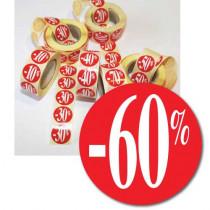 """Rouleau de 500 étiquettes adhésives """"-60%""""  24mm"""