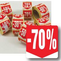 """Rouleau de 500 étiquettes adhésives """"70%"""" 35mm"""