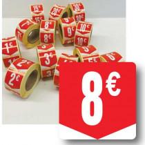 """Rouleau de 500 étiquettes adhésives """"8€"""" 35mm"""