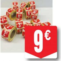 """Rouleau de 500 étiquettes adhésives """"9€"""" 35mm"""