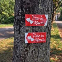 """Panneau  """"VIVE LES MARIES"""" L38 H20,5 cm"""